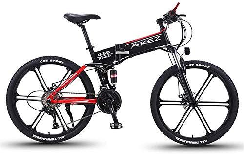 Bici electrica, Acero velocidad de la bicicleta de montaña 27 plegable bicicleta eléctrica bastidor 26 pulgadas ruedas dobles Suspensión Fat Tire Bike Nieve Tres Modos de Conducción for deportes al ai