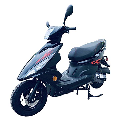 X-PRO 50cc Moped Scooter Gas Moped Scooter Street Scooter Gas Moped with 10' Wheels! (Black)