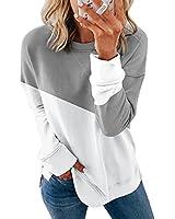FARYSAYS Women's Autumn Casual Color Block Sweatshirt Crewneck Long Sleeve Shirts Loose Pullover Tops Grey Medium