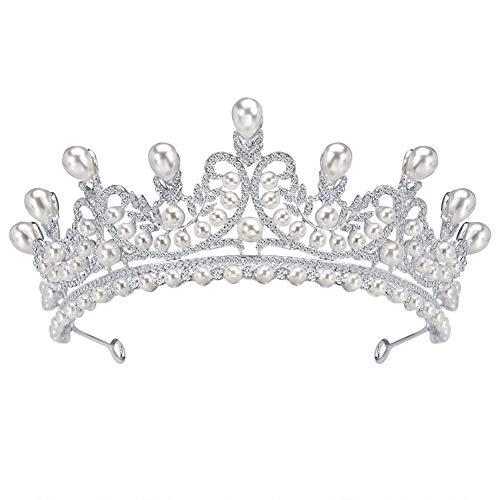 FEILEC Diadema para el pelo, corona de moda, corona hueca, para novia, de alta gama, para boda, 15,8 x 6,4 cm (diferentes estilos)