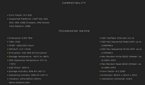 Corsair MP510 - Unidad de Estado sólido, Velocidad de lectura hasta 3.480 MB/s, Negro, 480 GB