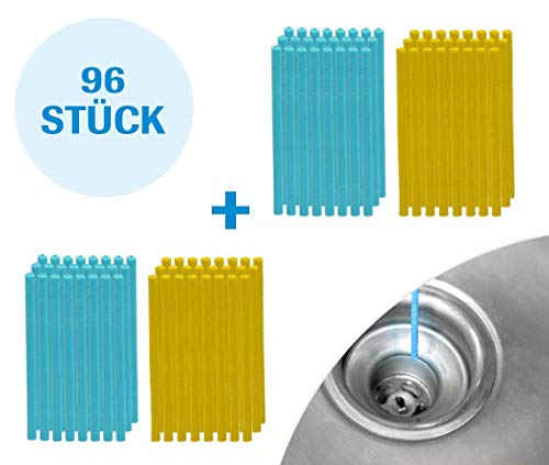 Mediashop Sani Sticks 96 Stück Abfluss Duft Zitrone Duftneutral | Drain Cleaner Enzymreiniger Abflussreiniger | Abflussrohr rein clean Rohrreiniger | Das Original aus dem TV