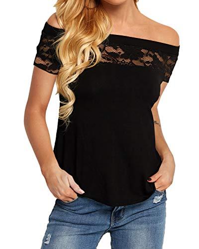 YOINS Femme T Shirt Sexy Dentelle Petit Haut Épaule Nue Manches Courtes Blouse Femme Soirée Chemise Bustier Sexy Chic Court-Noir M