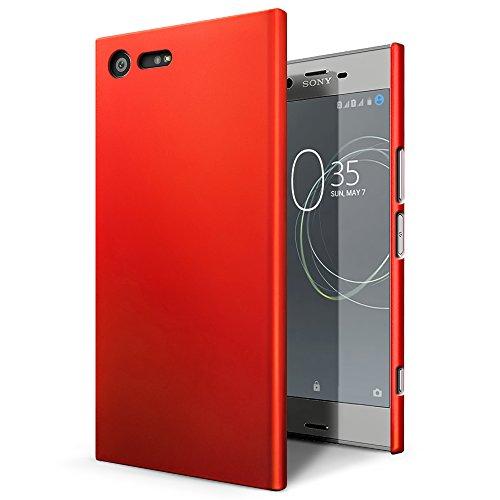 Xperia XZ Premium SO-04Jカバー【SLEO】Sony Xperia XZ Premiumカバー プレミアム ソフトPCバックカバー クリアスタル 超薄型 最軽量 スリムハードラバー dokomo Sony Xperia XZ Premium SO-04Jカバー(レッド)