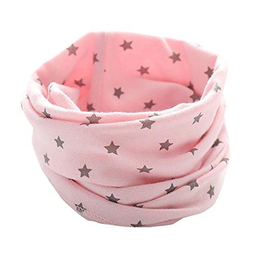 Schals Longra Kinder Baby Jungen Mädchen Baumwolle Schal O Ring Hals Baby Schals Herbst Winter Kinder Baumwollschals Warme Schals loop schal Hals Wärmer(0-3Jahre ) (Pink)
