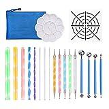 Aibecy 20 piezas Mandala punteadora Set DIY Plantilla de pintura de bola paleta de lápices de colores punto de relieve Kit para rocas de lienzo Coloración Dibujo Artesanía Decoración