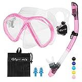 glymnis set snorkeling maschera snorkeling anti-appannamento kit snorkeling panoramica a 181° con tubo di respirazione a secco completo e boccaglio per adulti e adolescente rosa