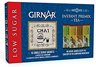 Girnar Instant Tea/Chai Premix Low Sugar Variety Pack, 15 Sachets