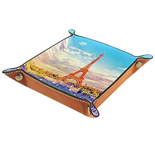 Bandeja de Cuero Fuente de la torre Eiffel París Francia Retro Vintage Almacenamiento Bandeja Organizador Bandeja de Almacenamiento Multifunción de Piel para Relojes,Llaves,Teléfono,Monedas