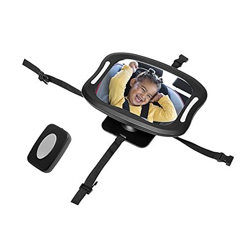 Specchietti per Auto per Bambini con Telecomando Luci a LED, Specchietto per Sedile Posteriore per Bambini Specchietto per Bambini in Acrilico, Retrovisore Ruotabile a 360 °