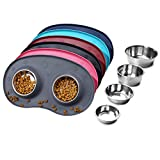 Vivaglory Puppy Bowls Stainless Steel Food and Water Bowls with Wider Non Skid Spill Proof Silicone Mat for Cats Small Dogs, Grey