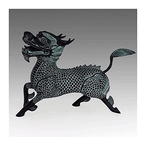 WQQLQX Statue Bronzeskulptur Handwerk Dekorationen Kirin Antike Statue Dekoration Wohnzimmer Zubehör Büro Reichtum Möbel Skulpturen