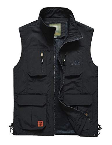 Flygo Men's Lightweight Outdoor Travel Work Fishing Vest With Multi-Pockets (Large, 02 Black)