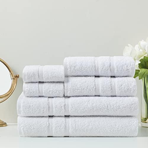 Degrees of Comfort Turkish Bath Towels Set | Luxury Towel Sets for Bathroom | 100% Cotton | Premium Hotel Quality - White, 6 Piece Set (2 Bath Towels, 2 Hand Towels, 2 Washcloths)