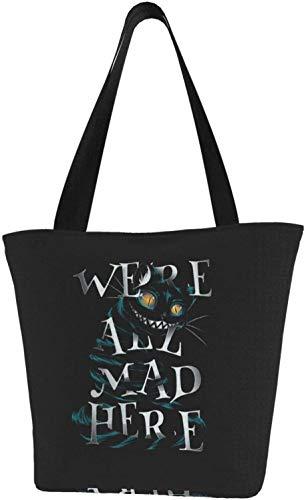 Nigel Tomm Bolsa de lona de Cheshire Cat We All Mad Here con cremallera, bolsas de supermercado reutilizables para compras, bolsos para regalo, diversión, Cosplay, viajes
