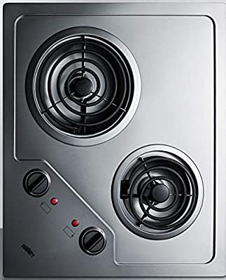 "Summit CR2B224S Two Burner 230V Electric Cooktop Designed For Portrait or Landscape Installation With Coil Elements and Stainless Steel Finish Fits 20"" x 16"" Counter Cutouts, 3.38""H x 21.25""W x 18.0""D"