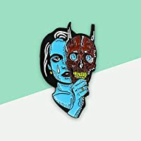 ゴシックエナメルピン悲しい青涙魔女赤悪魔マスクブローチ両面ジュエリーハロウィンパーソナライズギフト用ユニセックス