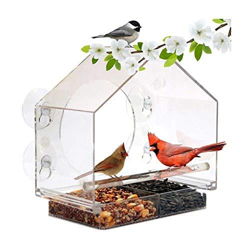 Graceru Fenster Vogelfutterspender, Transparent Acryl Vogelhaus, Saugfuß Wandfestes Vogelfutterstation Für Meisen, Spatzen & Kleineren Wildvögel