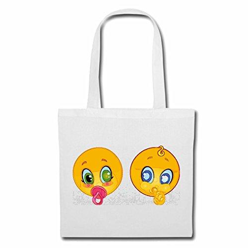 Tasche Umhängetasche Zwei Baby Smiley MIT Schnuller Smileys Smilies Android iPhone Emoticons IOS GRINSE Gesicht Emoticon APP Einkaufstasche Schulbeutel Turnbeutel in Weiß