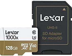 Lexar 128GB Professional 1000x microSDXC UHS-II Memory Card with SD Adapter, Up to 150MB/s Read Speed