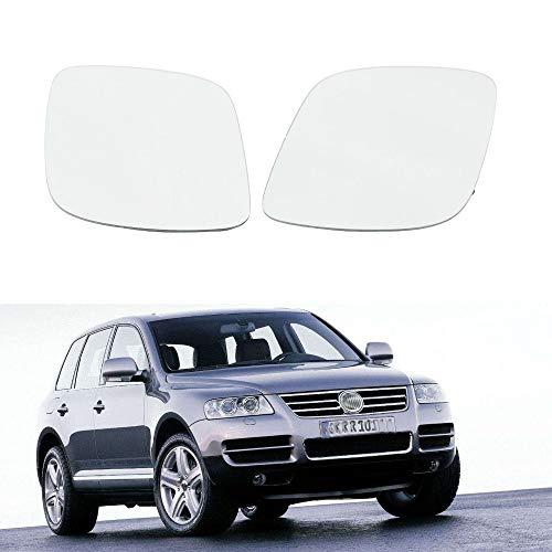 HIGHER MEN Espejo Lateral de la Puerta del Espejo retrovisor for VW Volkswagen Touareg 2003 2004 2005 2006 2007 Izquierda y de los retrovisores Derecho Posterior del Coche de Cristal con clima