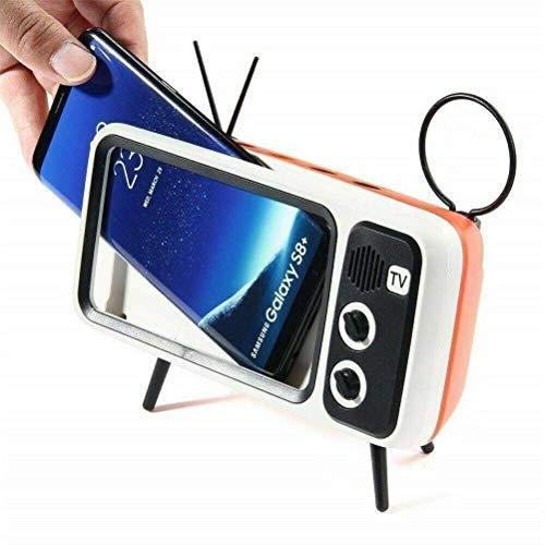 QIXIAOCYB KAUFEN Tragbarer Retro- Mini Batterie Bluetooth Lautsprecher Fernseher Design Smart Mobiltelefonhalter Fm Radio Creative Wireless Bass Lautsprecher 3D- Sound kompatibel mit Geräten innerhal
