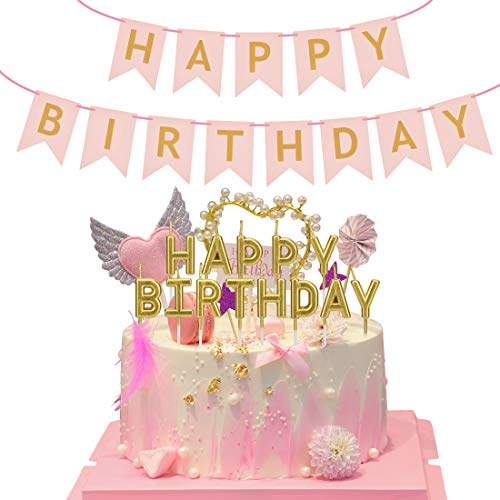 Wonnell ChuJun Happy Birthday Candle Set,Golden Alphabet Candles for Birthday Party and Pink Brazen Fishtail Pull Flag make your Party more Colorful Birthday Party Cake Decorations Supplies