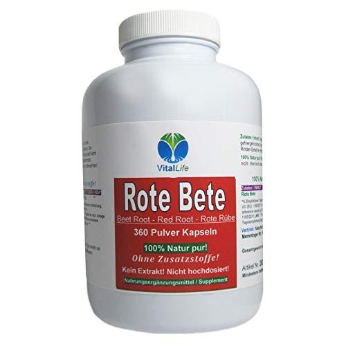 Rote Beete Bete Beetroot 360 Wurzelpulver Kapseln. Reich an Eisen & Folsäure. Superfood, NATUR PUR, KEIN EXTRAKT, OHNE ZUSATZSTOFFE FÜLLSTOFFE. 26317