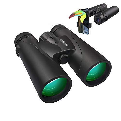 Prismáticos compactos de 12x42 para Adultos con Prisma BAK4, Lente FMC, Impermeable, prismáticos HD de Alta Potencia para observación de Aves, observación de Estrellas con Adaptador para Smartphone