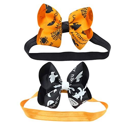 Lurrose 2 Piezas de Cinta para El Pelo de Calabaza Lazo de Halloween Cinta para El Pelo Cinta Elástica para La Cabeza para Niñas Pequeñas (Dorado)