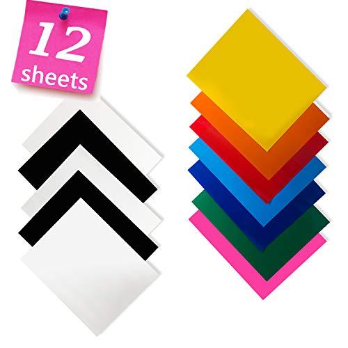 Wärmetransfer-Vinyl für T-Shirts, 30,5 x 25,4 cm, 12 Bögen, HTV-Bündel für Silhouette Cameo, Cricut oder Heat Press
