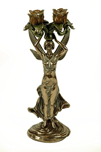 CAPRILO Figura Decorativa Portavelas Hada con 4 Flores. Figuras Resina. 13 Ø x 34 cm.