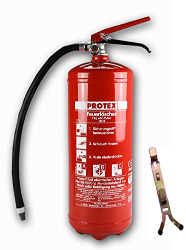 6kg Pulver Feuerlöscher Protex PDE6 Pulverlöscher mit Manometer + Wandhalter Modell A hergestellt für Ingbertson Pulverfeuerlöscher für Gewerbe geeignet (6kg mit Wandhalter, mit Manometer)
