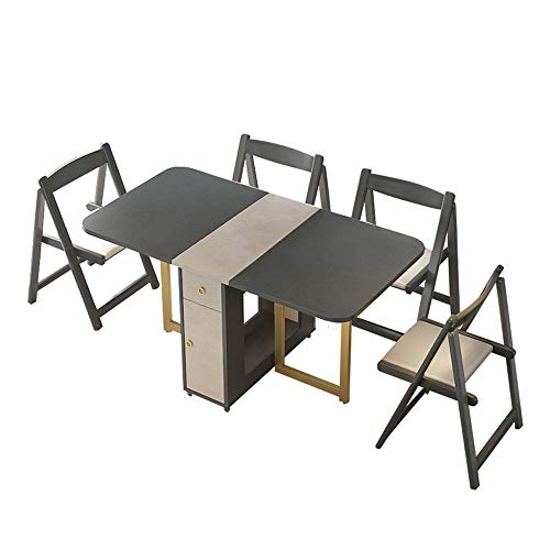 Mesa De Comedor Y Silla Plegable Retráctil Conjunto Minimalista Moderno Hogar Multifuncional Mesa Rectangular Mesa De Comedor En Casa