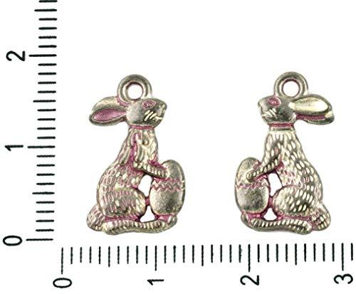 8pcs tchèque Valentine Rose Patine Antique Ton Argent Lapin de Pâques Lapin Oeuf Lièvre Animal Charmes tchèque Métal Conclusions 10mm x 18mm