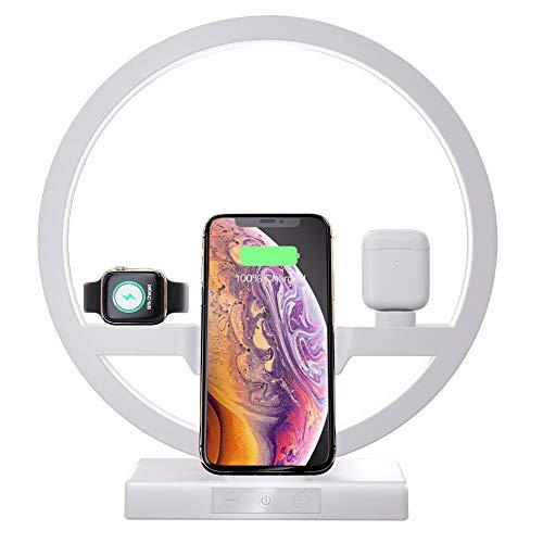 Caricabatterie Wireless Con Illuminazione Notturna, Supporto Per Stazione Di Ricarica 3 In 1 Per Apple Watch, Airpods, Caricabatterie Wireless Veloce Per Iphone 11/11 Pro / Xs Max / Xr / X / 8 Plus, S