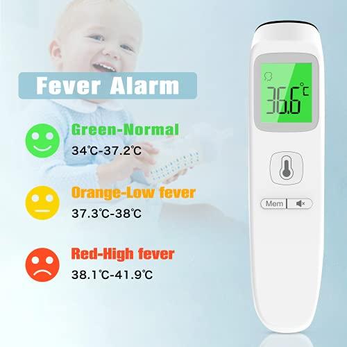 Termometro Frontale, Termometro Febbre Infrarossi Termoscanner Professionale per Febbre Termometro Digitale Senza Contatto, Letture Istantanee Accurate, per Neonati, Bambini, Adulti