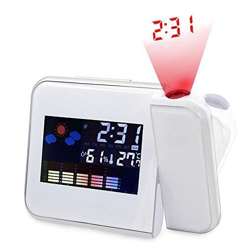 OGGID Reloj Despertador Proyector Digital con Pantalla a Todo Color, Mostrar Hora día Fecha Mes año y Temperatura y Proyecta la Hora en Cualquier Pared o Techo.