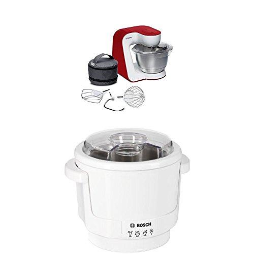 Bosch MUM54R00 Küchenmaschine StartLine Edelstahl-Rührschüssel, 3D Rührsystem, 7 Schaltstufen, 3,9 L, 900 W, weiß / tiefrot + MUZ5EB2 Eisbereiter Küchenmaschinenzubehör