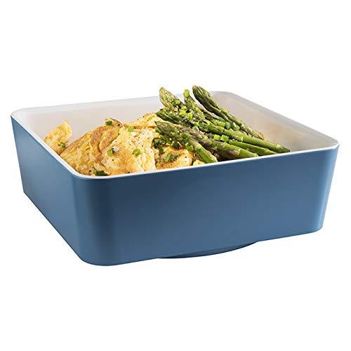 """APS Schale """"Happy Buffet"""", Bowl, quadratische Buffetschüssel, Schale aus Melamin, weiß/blau, 20 x 20 cm, Höhe 7 cm, für 1,5 Liter Inhalt"""