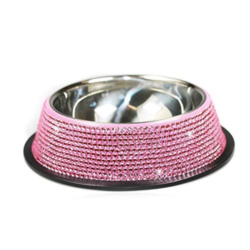 QKFON Ciotola per animali domestici con cristalli e strass in acciaio inox, ciotola per animali domestici intarsiata per cani e gatti, ciotola per acqua per cani e gatti, con base antiscivolo rosa