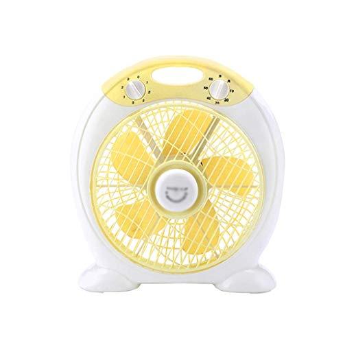 AOLI Tragbarer elektrischer Ventilator, heller Schlafsaal Schlafzimmer-Nachttischventilator Freistehender Sommer 3-fach verstellbarer Lüfter Farbe Fünf Kunststoffklinge 60 Minuten Timer,Gelb,36 * 31c