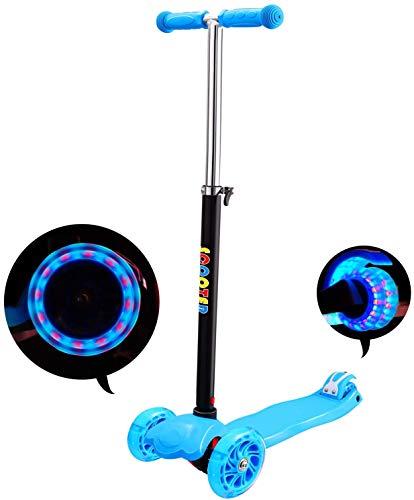 IMMEK Patinete de 3 Ruedas Scooter con Led Luces Manillar Altura Ajustable 71cm-83cm, Niños Adjustable Handles & Lightweight Construction
