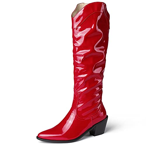 MeiLuSi Botas altas de la rodilla de la vendimia Cowgirl botas de tacón grueso punta puntiaguda botas de vaquero vestido casual mediados de la pantorrilla botas occident, 2 rojo, 41 EU