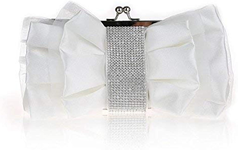 Ladies Handbag Ladies Handbags Water Drilling Package Bow Tie Water Drilling Package Hands Package Dinner Package Late Pack Flower Package Silk Cross, Square Solid color Package (color   White)