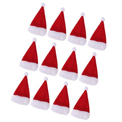 MagiDeal 12 Stück Mini Weihnachtsmannmütze Weihnachtsmütze Weinflasche Abdeckung Weihnachtsdeko