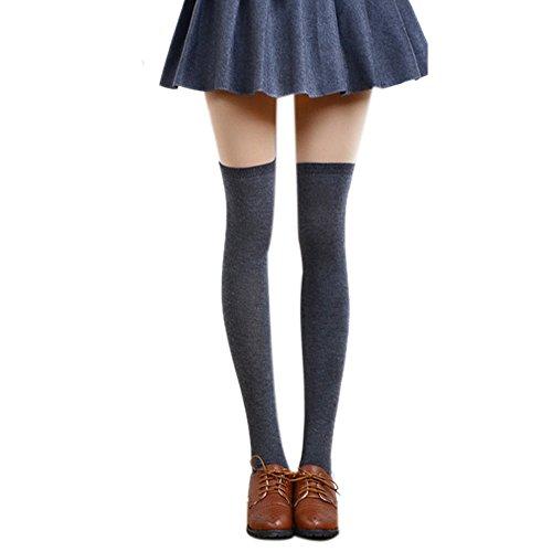 OSYARD Damen Socken Kniestrümpfe Sportsocken, Frauen Reizvoller Schenkel Knee High Socks Lange Baumwollstrümpfen,Overknee Überknie Wollsocken Stricksocke Wintersocken,WarmHalterlose Strümpfe