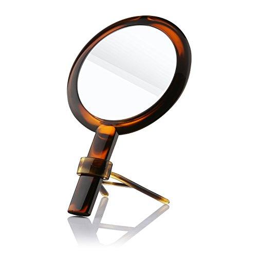 Beautifive Miroir Grossissant 7x de Double Face, Miroir Maquillage de Beauté à Main, Miroir de Poche cosmétique Portatif et Table sur Pied, Couleur Ambre Élégante