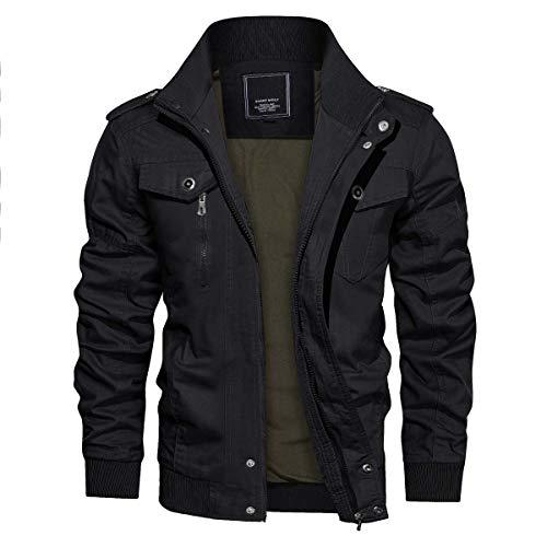 CRYSULLY Men's Flying Jacket Tactical Safari Jacket Cotton Field Military Cargo Jacket Coat Black/US XL/Tag 4XL