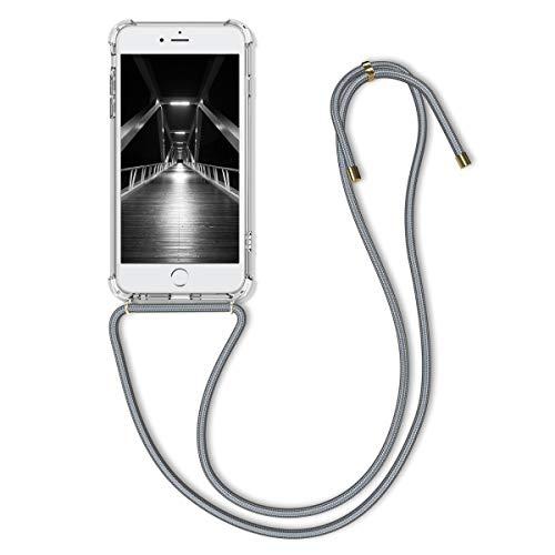 kwmobile Carcasa con Cuerda Compatible con Apple iPhone 6 Plus / 6S Plus - Funda Transparente de TPU con Cuerda para Colgar en el Cuello